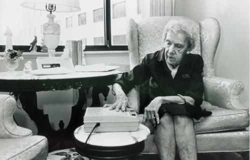 Woman with E1 machine, 1986