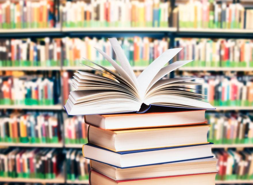 Books in a stack.
