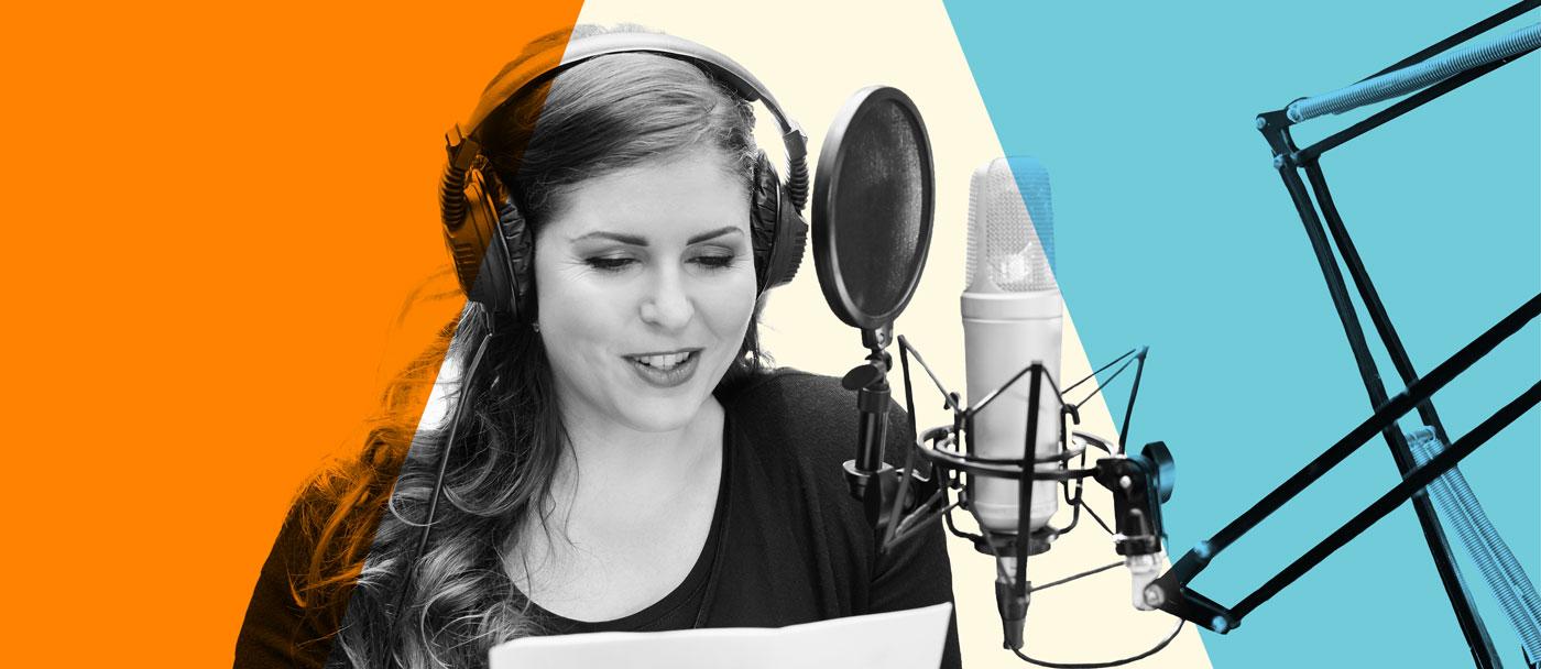 Woman in recording studio.